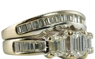 1.50cts Diamond Double Bands Ring Engagement Hallmarked