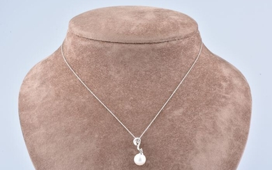 18 kt. White gold - Necklace with pendant - 0.08 ct Diamond
