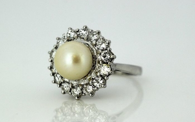 18 kt. White gold - Ring - 3.50 ct Pearl - Diamonds