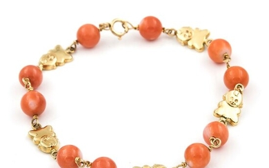 18 kt. Yellow gold - Bracelet Coral