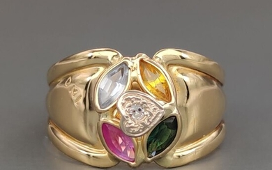 18 kt. Yellow gold - Ring - 0.03 ct Diamond - Amethyst, Citrine, Emerald, Topaz