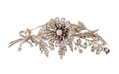 A LATE VICTORIAN FLORAL DIAMOND BROOCH, 'en tremblant', in f...
