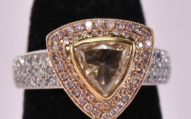18K White Gold Yellow Pink White Diamond Ring