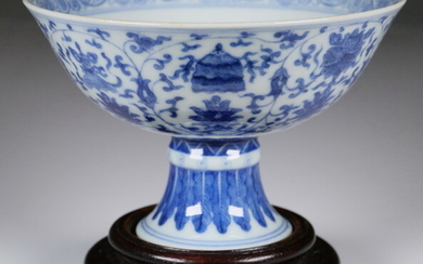 "18TH C. CHINESE BLUE AND WHITE ""EIGHT TREASURES"" STEM CUP, MARK ON BASE"