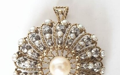 19,2 kt. Gold, Silver - Brooch, Pendant Pearl - Diamonds