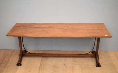 19TH CENTURY ENGLISH REGENCY PERIOD STYLE LOW LINE COFFEE TABLE, C.1940'S (A/F) (H55 X W149 X D55 CM) (LEONARD JOEL DELIVERY SIZE:...