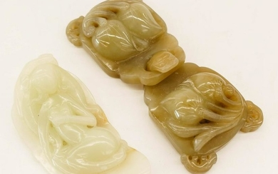 2pc Chinese Jade Buckle and Guanyin Carving. Includes a