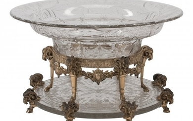 61089: A Dominic & Haff Silver Mounted Cut-Glass Center