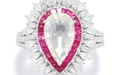 DIAMOND AND RUBY DRESS RING in 18ct white gold, set