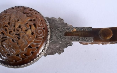 A 19TH CENTURY CHINESE CARVED BROWN MUTTON JADE BELT