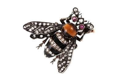 A BEE BROOCH, the diamond, ruby and enamel body mounted in g...