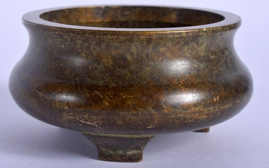 A CHINESE BRONZE CENSER, signed. 8 cm wide.
