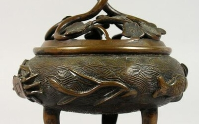 A CHINESE CIRCULAR BRONZE CENSER ON A STAND. 7ins