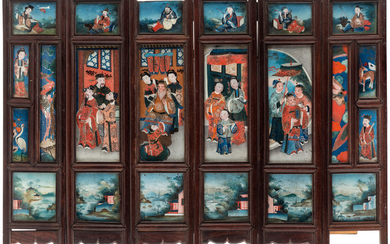 A CHINESE SIX-PANEL SCREEN DEPICTING THE TALE OF GENJI, LATE QING DYNASTY