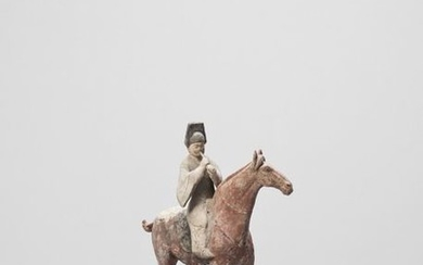 A COLD PAINTED TERRACOTTA MODEL OF A HORSE...