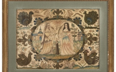 A Charles II stumpwork and silk-embroidered picture, c.1660-80, with a...