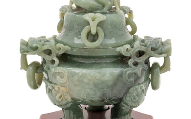 A Chinese Celadon Jade Tripod Incense Burner and Cover