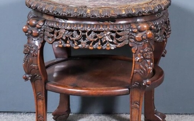 A Chinese Rosewood Circular Jardiniere Stand of Large Proportions,...