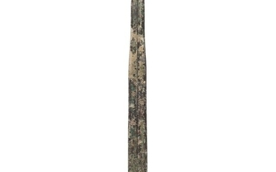 A Chinese bronze sword (Jian): having a 44cm double-edged bl...