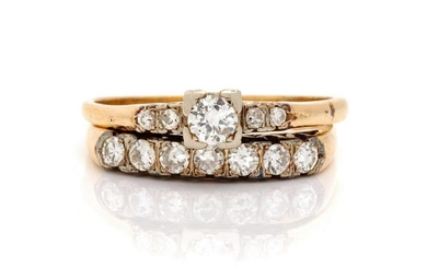 A Collection of 14 Karat Bicolor Gold and Diamond