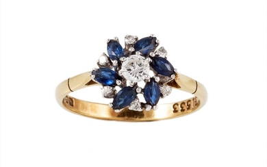 A DIAMOND AND SAPPHIRE CLUSTER RING, with diamonds of approx...