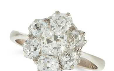 A DIAMOND CLUSTER RING in 18ct white gold, set with a