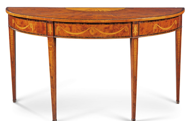 A GEORGE III YEW, SATINWOOD, HAREWOOD AND HOLLY SEMI-ELLIPTICAL SIDE TABLE, CIRCA 1775, IN THE MANNER OF INCE AND MAYHEW