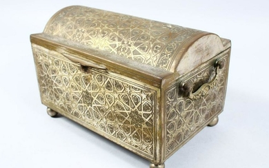 A GOOD 19TH CENTURY ISLAMIC BRASS CASKET, with chased