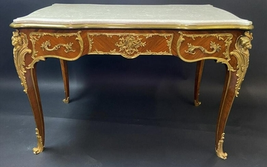 A GOOD DORE BRONZE MOUNTED KINGWOOD MARBLE TOP TABLE