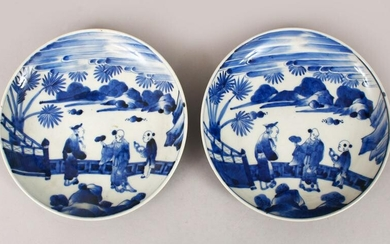 A GOOD PAIR OF 19TH CENTURY JAPANESE BLUE & WHITE