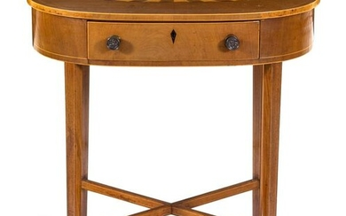 A George III Style Mahogany, Satinwood and Marquetry