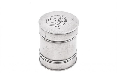 A George III silver cylindrical nutmeg grater by Samuel Pemberton