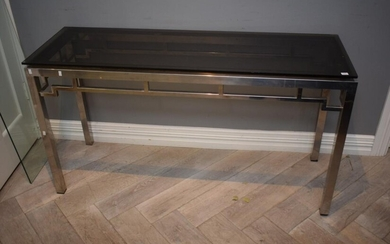 A METAL AND GLASS HALL CONSOLE (76H x 137W x 46D CM) (LEONARD JOEL DELIVERY SIZE: LARGE)
