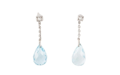 A PAIR OF AQUAMARINE AND DIAMOND DROP EARRINGS, the faceted ...
