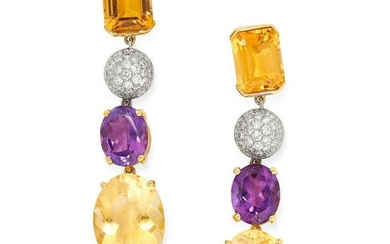 A PAIR OF CITRINE, AMETHYST AND DIAMOND EARRINGS each