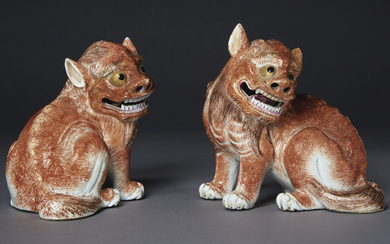 A PAIR OF MYTHICAL BEASTS, QIANLONG PERIOD (1736-1795)
