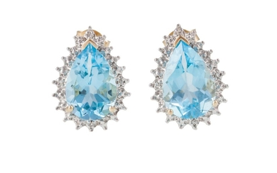 A PAIR OF TOPAZ AND DIAMOND CLUSTER EARRINGS, mounted in whi...
