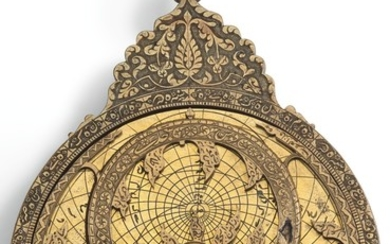 A PLANOSPHERIC BRASS ASTROLABE, SIGNED BY HAJJI 'ALI, PERSIA, LATE 18TH CENTURY