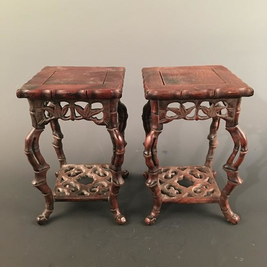 A Pair of Chinese Hardwood Table