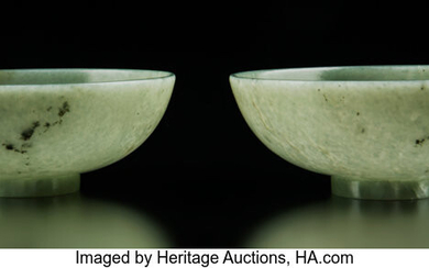A Pair of Chinese Translucent Celadon Jade Bowls