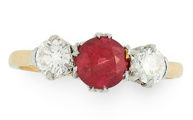 A RUBY AND DIAMOND DRESS RING in yellow gold, set with
