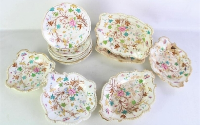 A Regency Bone China Part Dessert Set inc 6 Dishes & 7 Plates, with Butterfly & Floral Patterning & Gold Highlights (Some Ware and C...