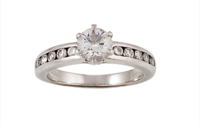 A SOLITAIRE DIAMOND RING, with Tiffany cert stating the diam...