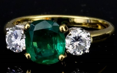 A Three Stone Emerald and Diamond Ring, Modern, in...