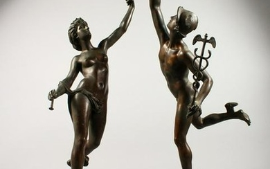 A VERY GOOD PAIR OF BRONZE FIGURES OF MERCURY AND CERES