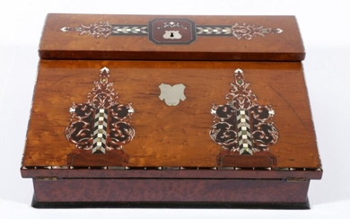 A Victorian Burr Walnut Writing Slope, with Mother of Pearl Inlay, Decorated with Ivory and Brass Inserts (H:12cm W:38cm D:30cm)