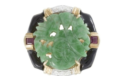 A carved jadeite, enamel, diamond and ruby ring