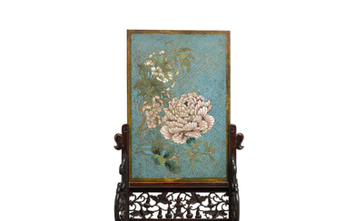 A cloisonné enamel flower panel mounted as a table screen