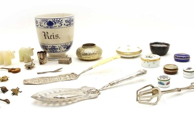 A collection of Continental white metal items