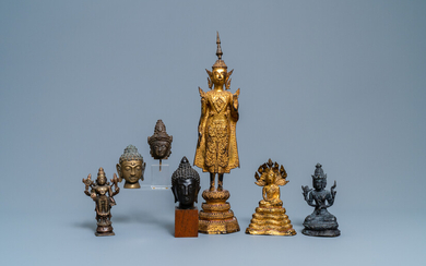 A collection of bronze figures and fragments, India, Thailand and Tibet, 19th C. and earlier